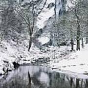 Powerscourt Waterfall In Winter, County Art Print
