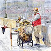 Prague Charles Bridge Organ Grinder-seller Happiness  Art Print