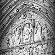 Prayers At Notre Dame - Black And White Art Print