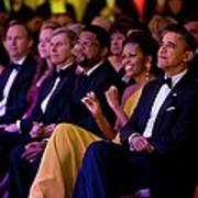 President And Michelle Obama Listen Art Print by Everett