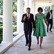President And Michelle Obama Walk Art Print by Everett