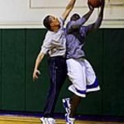 President Barack Obama Blocks A Shot Print by Everett