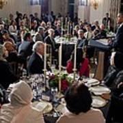 President Barack Obama Delivers Remarks Art Print by Everett