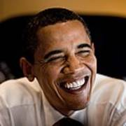 President Barack Obama Laughs During An Art Print by Everett