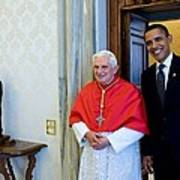 President Barack Obama Meets With Pope Art Print by Everett