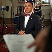 President Barack Obama Wearing A Bow Art Print by Everett
