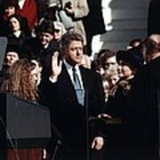 President Bill Clinton Takes The Oath Art Print by Everett