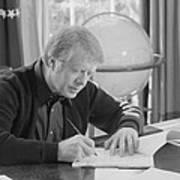 President Jimmy Carter Working Art Print
