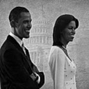 President Obama And First Lady Bw Print by David Dehner