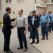 President Obama Greets Workers At Shift Art Print
