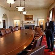 President Obama Surveys The Cabinet Art Print by Everett