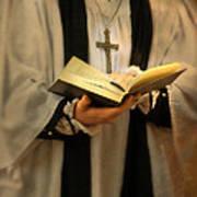 Priest With Open Bible Art Print by Jill Battaglia