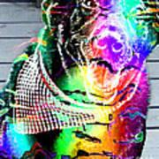 Psychedelic Black Lab With Kerchief Art Print