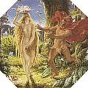 Puck And The Fairy Art Print by Joseph Noel Paton