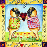 Pug Love Print by Lyn Cook