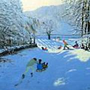 Pushing The Sledge Art Print by Andrew Macara