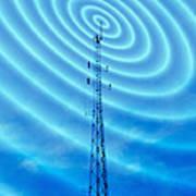 Radio Mast With Radio Waves Art Print