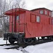 Railroad Train Red Caboose Art Print