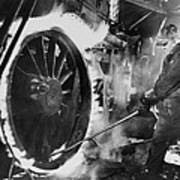 Railroad Worker Sweating A Tire Print by Everett