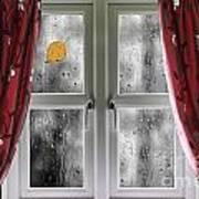 Rain On A Window With Curtains Art Print