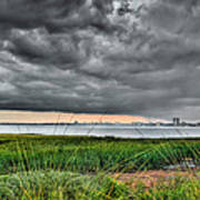Rain Rolling In On The River Art Print