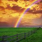 Rainbow In Country Field With Gold Art Print
