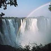Rainbow In Front Of Victoria Falls Art Print