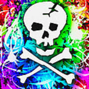 Rainbow Skull 3 Of 6 Art Print