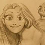 Rapunzel And Pascal Art Print