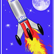 Really Cool Rocket In Space Art Print