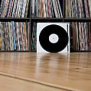 Records Leaning Against Shelves Art Print by Halfdark