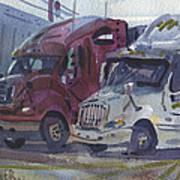 Red And White Trucks Art Print