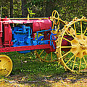 Red And Yellow Tractor Art Print