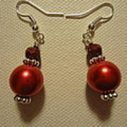 Red Ball Drop Earrings Art Print