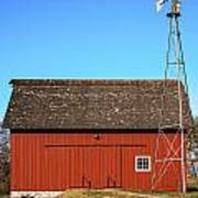 Red Barn And Windmill Art Print