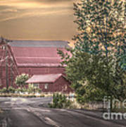 Red Barn At The Curve Art Print