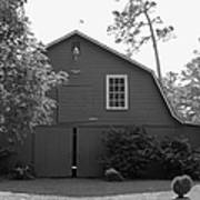 Red Barn in Black and White Art Print