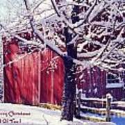 Red Barn In The Winter Connecticut Usa Art Print