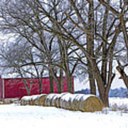 Red Barn In Winter With Hay Bales Art Print