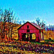 Red Barn On A Hillside Art Print