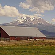 Red Barn Under Mount Shasta Art Print