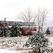 Michigan Red Barn Winter Scene Snow Landscape Art Print