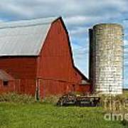 Red Barn With Silo Art Print