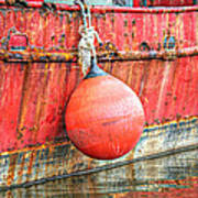Red Boat With Bumper Art Print