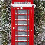 Red British Phonebox In The Snow Art Print
