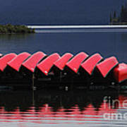 Red Canoes Maligne Lake Art Print