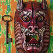 Red Cat Mask Art Print