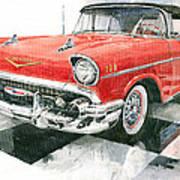 Red Chevrolet 1957 Art Print
