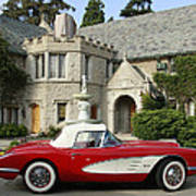 Red Corvette Outside The Playboy Mansion Art Print