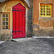 Red Door And Yellow Windows Art Print